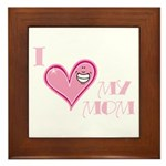 I Love Heart My Mom Mother's Pink Framed Tile