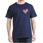 Pink Heart Cartoon Smile Smiley Dark T-Shirt