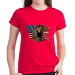 Chocolate Lab Flag Women's Dark T-Shirt