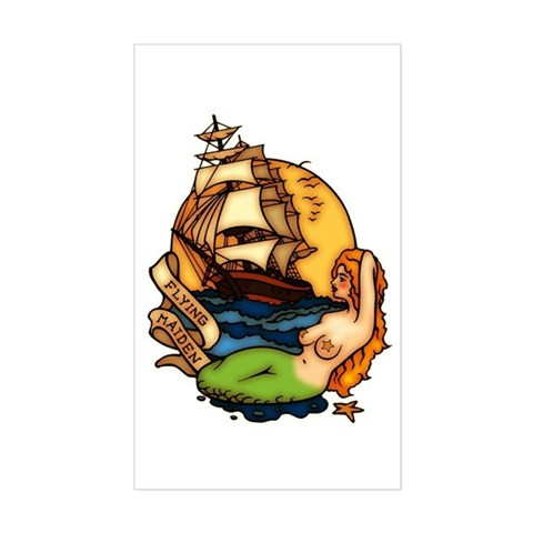 Mermaid n Pirate Ship Tattoo Art Sticker (Rectangu.