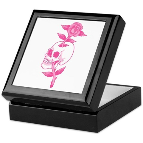 Pink Skull Rose Tattoo Art Keepsake Box