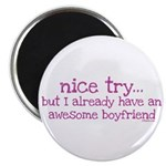 """My BoyFriend is Awesome 2.25"""" Magnet (10 pack)"""