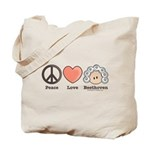 Peace Love Heart Beethoven Tote Bag or Music Bag