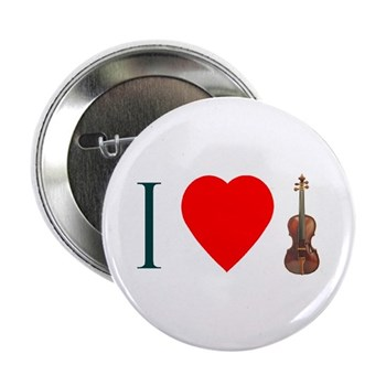 I Love Violin Button