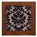 Purple Velvet Damask Framed Tile