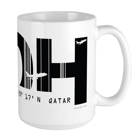 Doha, Qatar DOH Air Wear Airport Large Mug