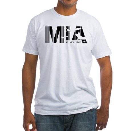 Miami Florida MIA Air Wear Airport Fitted T-Shirt