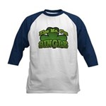 Kiss Me I'm Single Shamrock Kids Baseball Jersey
