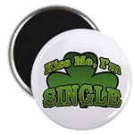 "Kiss Me I'm Single Shamrock 2.25"" Magnet (100 pack"