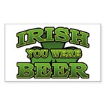 Irish You Were Beer Shamrock Rectangle Sticker