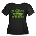 Irish You Were Beer Shamrock Women's Plus Size Sco