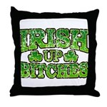 Distressed Drink Up Bitches Shamrock Throw Pillow