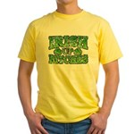Distressed Drink Up Bitches Shamrock Yellow T-Shir