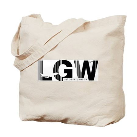 London Gatwick England LGW Airport Code Tote Bag