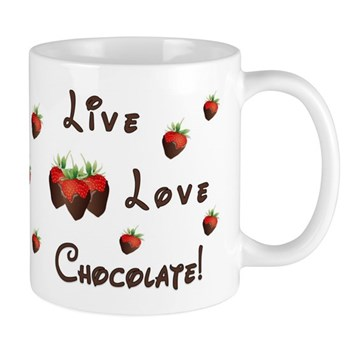 Live Love Chocolate Mugs, Aprons and Home Decor