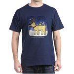 Reindeer Yellow Lab Dark T Shirt (Cartoon)