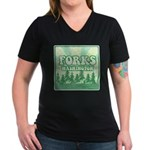 Twilight Forks Women's V-Neck Dark T-Shirt