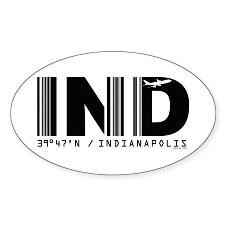 Indianapolis Airport IND Indiana Oval Sticker
