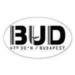 Budapest Airport Code BUD Hungary Oval Sticker