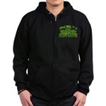 Kiss Me I'm Single Shamrock Zip Hoodie (dark)