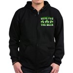Here for the Beer Shamrock Zip Hoodie (dark)