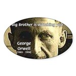 Orwell Big Brother 1984 Oval Sticker