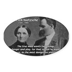 Man and Woman: Nietzsche Oval Sticker