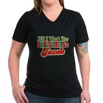 Christmas Jacob Women's V-Neck Dark T-Shirt