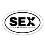 Sembach Airport Code Germany SEX Oval Sticker Blk