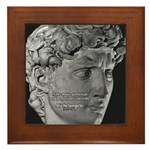 David with Michelangelo Quote Framed Tile