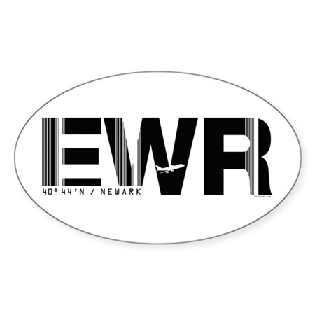 Newark Airport Code New Jersey EWR Sticker (Oval)
