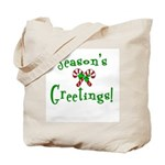 Candy Cane Seasons Greetings Tote Bag
