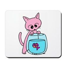 Cat &amp; Fishbowl Cartoon Mousepad