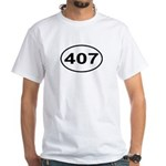 407 Orlando Area Code Oval White T-Shirt