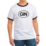 GIN Alcohol Booze Drink Oval Ringer T