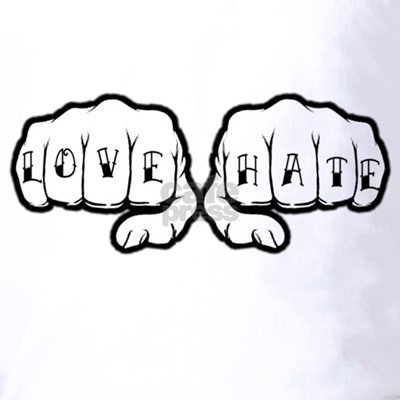 Love Hate Tattoo Fists T-Shirt