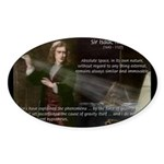 Sir Isaac Newton: Gravity Oval Sticker